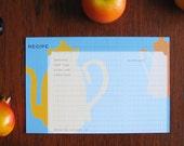 12 Tea Time Modern 4x6 Recipe Cards