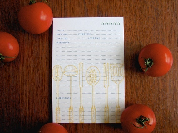 12 Utensils 4x6 Recipe Cards with optional Muslin Bag