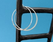 sterling silver hammered hoops 1.5 inch