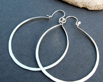 hinged hoops - hammered sterling silver 1.5 inch