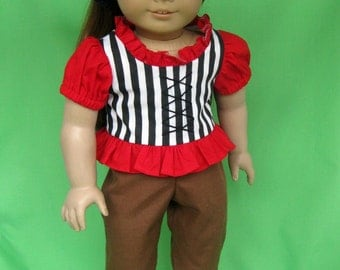 Jolly Roger Pirate Costume for American Girl / 18 Inch Dolls (Blouse, Pants, and Headscarf)