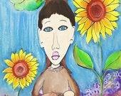 Spring of Youth original watercolor mixed media 6x9