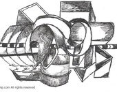 Original Black and White Abstract Ink Drawing