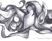Original Black and White Abstract Ink Drawing No2