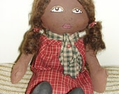 African American rag doll primitive handmade red dress dimples