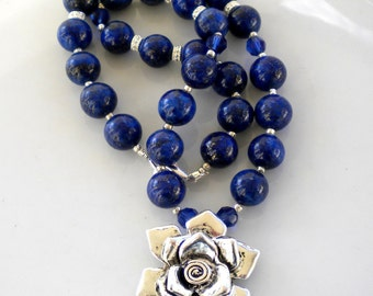 Lapis Lazuli Gemstone Necklace Beaded Necklace Montana Blue Swarovski Cry Flower Pendant OOAK