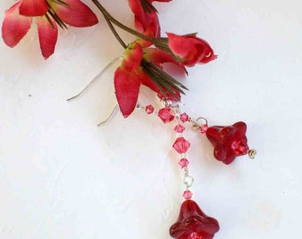 Flower Fairy Siam Tulip Swarovski Crystal Earrings