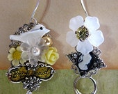 Bridesmaid Earrings Shimmering Crystals Flowers Birds Bridal Romantic Love Bride Dangle White Silver Snow Stunning Sparkle