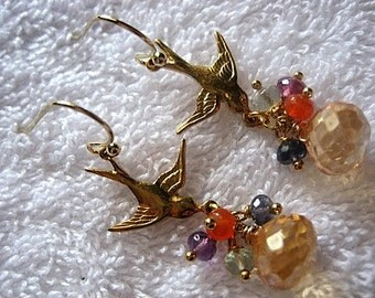 Sweetheart Birds III Earrings Cluster Dangle Chandelier Elegant Princess Glam Glamorous Chic Semi Precious Stones