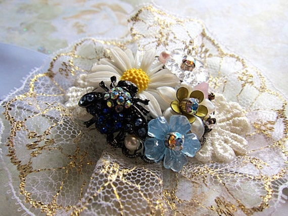 Bumble Bee Wristband Bracelet Lace Statement Swarovski Blings Corsage Princess Party Chunky Dolly Pretty Dainty Fabric