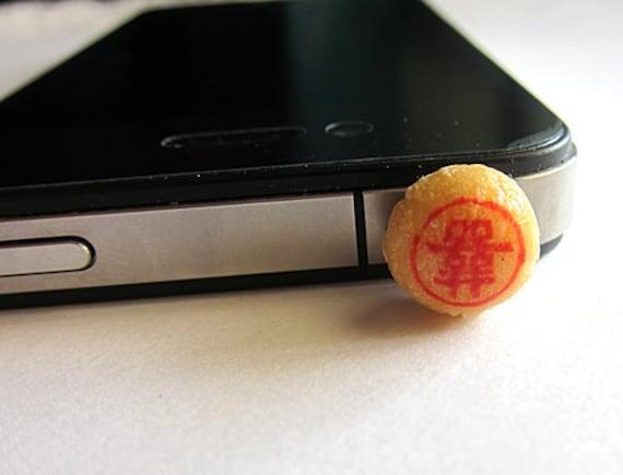 Food Dust Plug, Jack Plug, Dust Plug, Food Ear Deco, Food Jack Plug, Smart Phone Plug, Earphone Jack Plug, Double Happiness Cellphone Charm