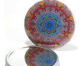 Pocket Mirror Mandala 3, Mandala Mirror, Floral Mirror, Rainbow Mirror, Art Mirror, Party Favor