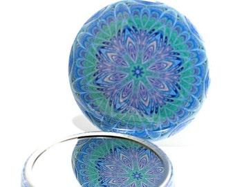 Pocket Mirror Mandala 4, Blue and Green Mirror, Geometric Design Mirror, Wedding Favors, Party Favors, Purse Mirror