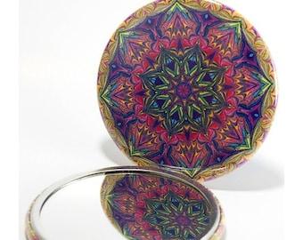 Pocket Mirror Mandala 1, Pink & Blue Pocket Mirror, Bridesmaid Gift, Mandala Mirror, Kaleidoscope