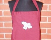 "Ready to Ship Apron Chef Hat Embroidery 32"" Burgundy Apron"