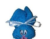 Boo-boo Bunny Embroiderey Bright Blue Rabbit