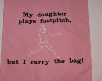 Fastpitch Softball Pitcher Canvas Tote Bag EMBROIDERY