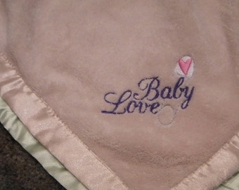 Plush BABY LOVE Blanket Safety Pin Embroidery Beige Lightweight Ready to Ship