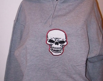 Adult Medium Hooded Sweatshirt Skull Applique Embroidered on a Hoodie Sweatshirt
