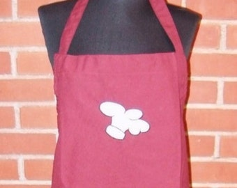"""Apron Chef Hat Embroidery 32"""" Burgundy Apron Ready to Ship"""