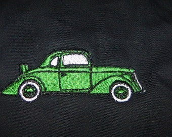 APRON Antique Car Embroidery Apron Green Vintage Old Fashioned BBQ - Ready to Ship