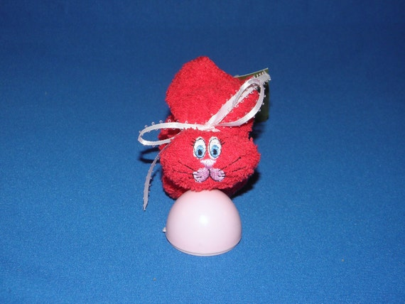 Embroidered Bunny Ice Pack Shower Gift Basket Baby RED Boo-boo Rabbit