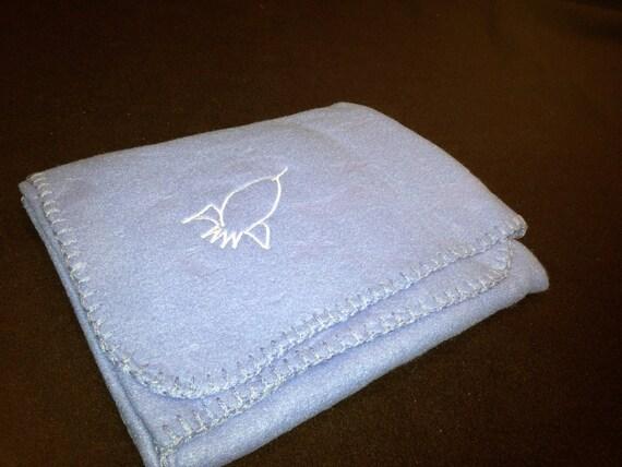 SALE Rocketship Blanket Embroidery Lightweight Embossed Fleece