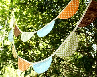 Boy Theme Scalloped Bunting. Designer's Choice, Long Flag Banner.  Features Large Fabric Pennants in Blues, Greens and Browns.