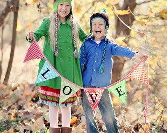 LOVE Fabric Bunting Flag Banner, Prop, Decoration, Wedding Decor, Birthday Parties, Baby Nursery... Designer's Choice