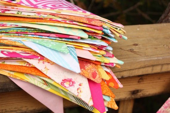 Custom Wedding Bunting 80 Feet, Bridal Flag Banner Decorations in Your Chosen Colors.  TWO X 40 Foot Bunting