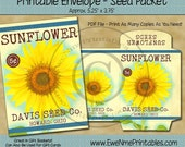 Instant Download - Printable Seed Packet - Vintage Sunflower - Digital PDF and/or JPG File