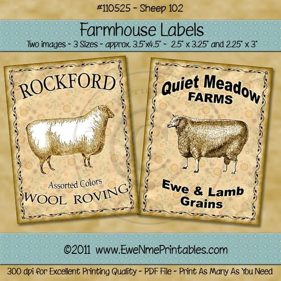 Primitive Sheep Farmhouse Label Printables - Rockford Wool Roving - Quiet Label Ewe Lamb Grains - Sheep 102 - Digital PDF or JPG File