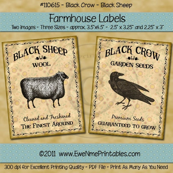 Black Sheep Black Crow Primitive Farmhouse Label Printables - Rustic Style Sepia Tone Labels - Seeds, Wool - Digital PDF or JPG File