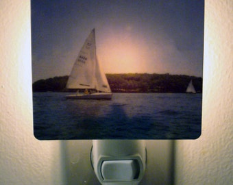 Clearance DISCONTINUED Sailboat Night Light - Sail Away with Me Polaroid Photo - Unique Housewarming Gift, Nautical Home Nursery Decor,