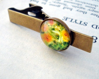 CLEARANCE Gold Tie Clip - Autumn Blossoms Polaroid Photo - Great for Weddings, Groomsmen, Father of the Bride, Dad, Best Man, Dudes