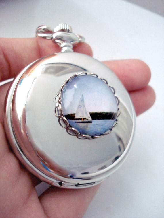 CLEARANCE Large Nautical Double-Sided Silver Pocket Watch with Polaroid Photo - Sail Away With Me - Great for Groomsmen LAST ONE