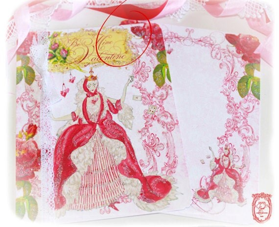 Valentine Queen of Hearts Set of 6 with Heart Shaped Envelope Seals