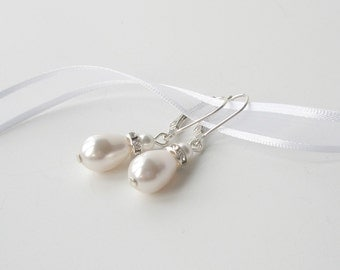 White Pearl Teardrop Earrings, Pearl and Sterling Bridal Earrings, Bridesmaid Gift, Wedding Jewelry, Pearl Drop Earrings, Handmade Bridal