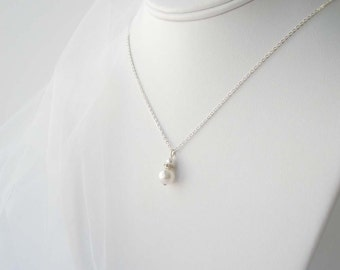 White Pearl Bridal Necklace, Sterling Pearl Necklace, Bridesmaid Jewelry, Bridesmaid Gift, Bridal Accessory, Wedding Jewelry