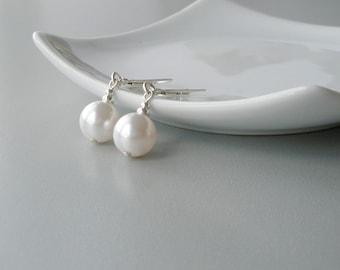 Pearl and Sterling Silver Earrings, White Pearl Bridal Earrings, Large Pearl Earrings, Swarovski Pearl, Modern Jewelry, Bridesmaid Jewelry