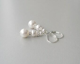 White Pearl Bridal Earrings, Pearl and Sterling Drop Earrings, Bridesmaid Gift,  Pearl and Crystal Earrings, Pearl Leverback Earrings