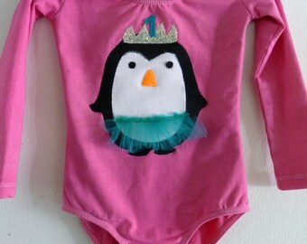 PENGUIN BIRTHDAY LEOTARD-Long Sleeve Leotard- Penguin Tutu - Size 18/24  months, 2/4 years, 4/6 years, 6/8 years up to adult sizes
