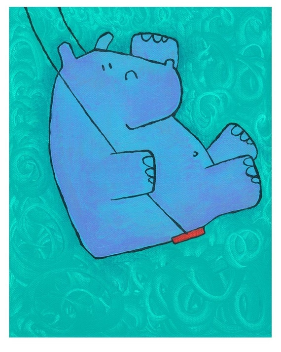 Hippo Summer Swing - Childrens Art Print
