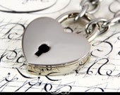 Locking Heart Lock Bracelet with Stainless Chain and Keys.
