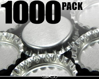 1000 Regular Chrome Bottle Caps WITHOUT LINERS. New.