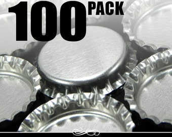 100 Regular Chrome Bottle Caps WITHOUT LINERS-linerless bottle caps - New - Annie Howes