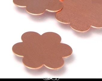 5 Pack of Copper Blanks. 23mm Flower Shape. 24ga Solid Copper