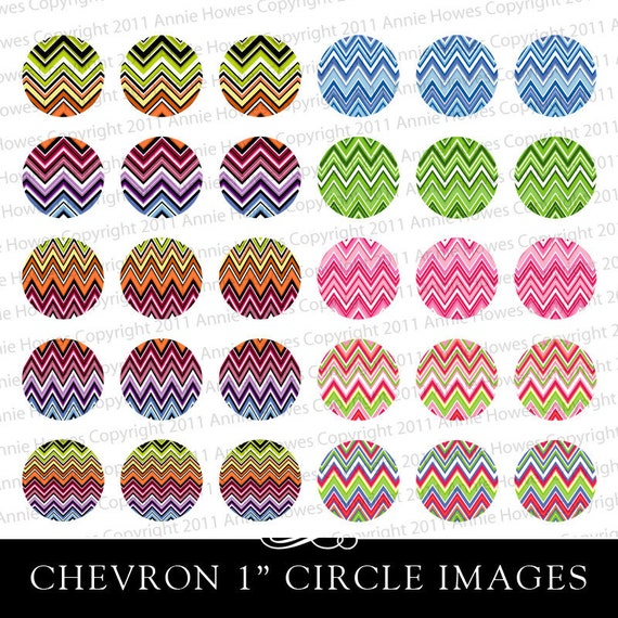 Instant Download Chevron Colorful 1 Inch Bottle Cap and Circle Pendant Collage Sheet. Original Designs.