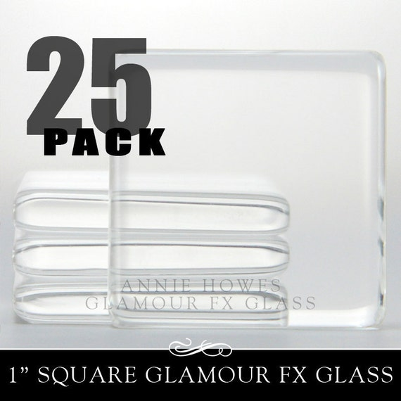 Pendant Squares. 1 in clear glass tiles. Clear and colorless glass for pendants and Magnets. Annie Howes. 25 Pack.