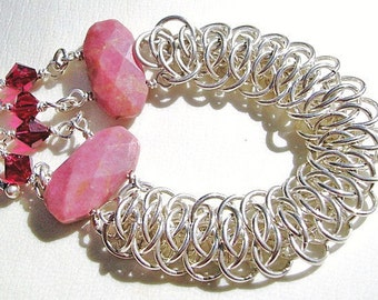Sterling Silver and Rhodonite Viper Scale Chainmaille Bracelet